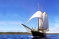 The French double masted schooner La Violante, built in the 1920´s, sails the waters of the Yasawa Islands, Fiji