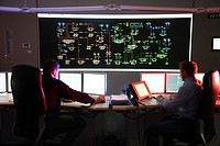 Power Control Centre of the ELE, Emscher Lippe Energie GmbH, a subsiduary of the RWE, control room of the regional energy network for gas and electric...