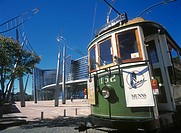Old tram in front of the Christchurch Art Gallery