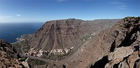 Valle Gran Rey with La Playa, La Calera and El Guro, Mt. La Mérica in the back, view from Las Pilas, La Gomera, Canaries, Canary Islands, Spain, Europ...