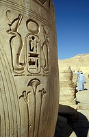 Carvings on pillar at Medinet Habu