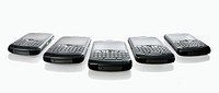 Row of BlackBerry 8310 Curve Smartphones Isolated on white background