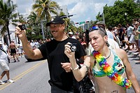 Florida, Miami Beach, South Beach, ´Ocean Drive´, Gay Pride Parade, festival, expo, homosexual, lesbian, bisexual, transgender, LGBT, man, man, woman,...