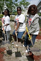 Florida, Miami, Overtown, Peace Park, Global Youth Service Day, tree planting, community service, volunteer, student, Black, girl, shovel, soil, garde...