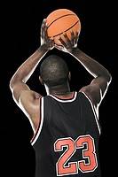 Rear view of a basketball player
