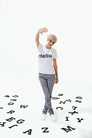 Woman wearing t_shirt that says hello