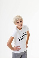 Young woman wearing t-shirt that says hello (thumbnail)