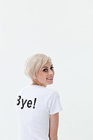Young woman in t_shirt that says bye