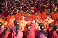 Buddhist monks during prayer in lumbini nepal