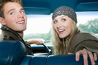 Young couple in car