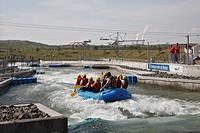 Rafting, artificial whitewater course, Canoe Park at Lake Markkleeberg, Leipzig, Saxony, Germany, Europe