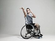Wheelchair basketball player shooting