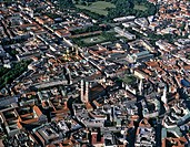 Aerial picture, northern city centre of Munich, historic centre, new town hall, cathedral, Frauenkirche Church, Bavarian State Chancellery, Hofgarten ...