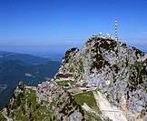 Aerial picture, Mt Wendelstein, Wendelstein transmitter, Mangfall Range, Bavarian alpine upland, Upper Bavaria, Germany, Europe