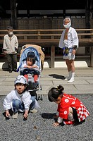 Children in traditional costume at the procession, Matsuri Shrine Festival of the Matsuo Taisha Shrine, Shinto, Kyoto, Japan, Asia