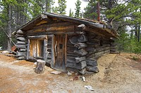Old log cabin, trappers cabin near Bennett Rapids, Lake Bennett, Chilkoot Pass/Trail, Klondike Gold Rush, British Columbia, B.C., Canada, North Americ...