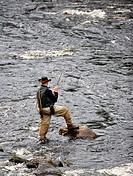 River fishing in Kuhmo, Eastern Finland. Koli.