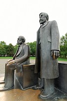Statues of Karl Marx and Friedrich Engels in Berlin, Germany, Europe