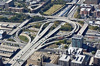 Highway cloverleaf intersection, high angle view
