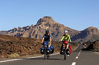 Bicyclists in the Teide National Park, Tenerife, Canary Islands, Spain, Europe