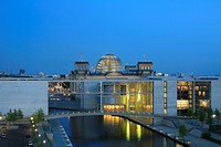 view onto the Reichstag accross the Paul_Loebe_House with the Marie_Elisabeth_Lueders_House on the left, Germany, Berlin