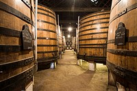 Oak barrels filled with port wine of Graham's Port Wine House on Rua Rei Ramiro, Vila Nova Gaia, Porto, UNESCO World Cultural Heritage Site, Portugal,...