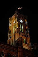 Rotes Rathaus, red town hall, in the evening, illuminated tower, Berlin, Germany, Europe