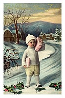Historical New Year greetings card, boy with two presents on snowed-in road, Viel Glueck im neuen Jahre, Best new year wishes