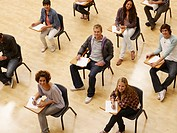 College students sitting at desks in classroom