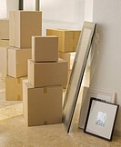 Cardboard boxes and pictures in new house