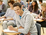 Smiling college student in classroom
