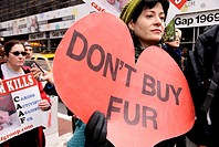 Animal Activists, Manhattan NYC, November 27, 2009, Protest on Black Friday, the discount shopping day that follows American Thanksgiving Day
