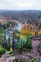 Scenery from Paeaehkaenaekallio Kitka river, Finland, Oulu, Kuusamo