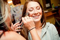 Bride getting ready, hair salon, makeup
