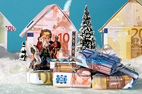 Santa Claus with money gifts
