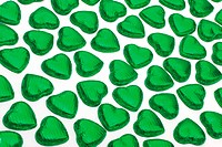 many green chocolate hearts