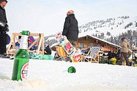 Becks beer on wintersports, Austrian Alps, Tyrol, Tirol, Austria