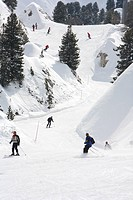 Winter sports village La Plagne. Snow on the Mountains of the French Alps. Tarentaise, Savoy, Savoie, Peisey, France.