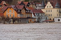 river Elbe inundation, flood waters in Wehlen, Germany, Saxony, Wehlen