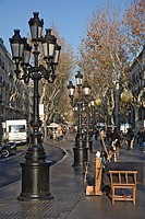street light at Rambla de Santos Mònica, Spain, Katalonia, Barcelona