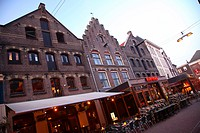 Bars and cafes on the Korenmarkt in Arnhem, The Netherlands