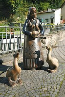 Girl with goose, ceramic figures