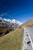 View of Grossglockner Mountain, 3.798m, by the Grossglockner High Alpine Road, Hohe Tauern National Park, Carinthia, Austria, Europe