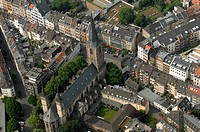 St. Severin Church, Cologne, Germany, aerial view