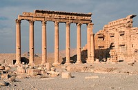 Ruins and pillars of the Baal_Temple in Palmyra, Syria, Near East, Asia