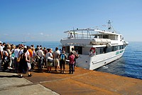 Tour ship, day tourists departing from Stromboli Island, Aeolian or Lipari Islands, Tyrrhenian Sea, Sicily, South Italy, Italy, Europe