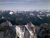 view from Wetterstein to Karwendel mountains, Germany, Bavaria, Bavarian Alps