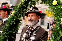 Bavarian man wearing a traditional costume during the Trachtenumzug, traditional costume parade, to the Octoberfest, Munich, Bavaria, Germany, Europe