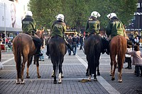 Mounted police, Market Square, Stuttgart, Baden-Wuerttemberg, Southern Germany, Europe