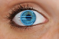 Eye with a euro symbol superimposed over a blue iris, detail, symbolic for avarice